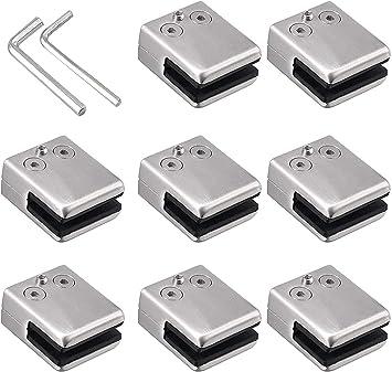 Pinzas de cristal de acero inoxidable 304, pinzas de cristal, soporte ajustable glashalterung, parte trasera plana para barandilla de escalera: Amazon.es: Bricolaje y herramientas