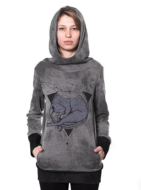 Street Habit - Sudadera con Capucha - Animal Print - para Mujer Gris Dark  Grey with Black Ribbed Large  Amazon.es  Ropa y accesorios e4888ca03fd