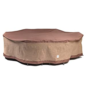 Duck Covers Ultimate Rectangle/Oval Patio Table with Chairs Cover, 109-Inch
