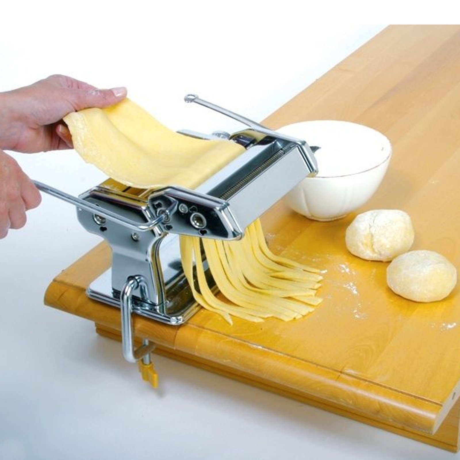 Tomasar Pasta Maker 3 in 1 Stainless Steel Pasta Machine Roller Cutter for Spaghetti Lasagne Tagliatelle Noodle with 2 Blades and Table Top Clamp (Pasta Maker)