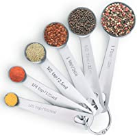 Cedara Living - Stainless Steel Measuring Spoons Set Of 6 - Heavy Duty Stainless Steel - Dishwasher Safe - High Quality Measuring Spoons For Dry or Liquid Ingredients - Metal Measuring Spoons Best For Cooking And Baking