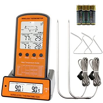 Termómetro de carne barbacoa digital con sonda interna, Termómetro de cocina digital precisa súper rápida Termómetro digital con pantalla LCD - barbacoa, ...