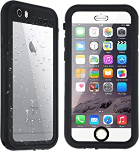 Co-Goldguard iPhone 6s Plus / 6 Plus Waterproof Case,Underwater IP68 Full Sealed Built in Screen Snowproof Dustproof Shockproof Protective Clear Cover for Apple 6+/6s+(5.5 inch) Black