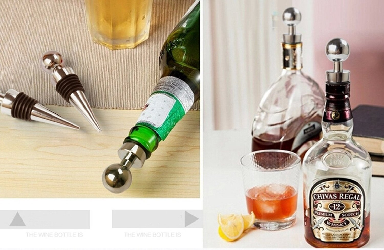 Vino Caddy Acero Inoxidable Tap/ón de Botella de vino decorativo dise/ño de bola cromo Juego de 5