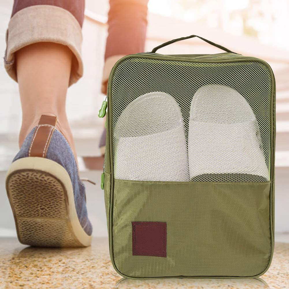 Alomejor Shoe Bag Folding Nylon Travel Shoes Clothes Pouch Portable Shoes Organizer Storage Bag with Zipper for Boots High Heel Shoes