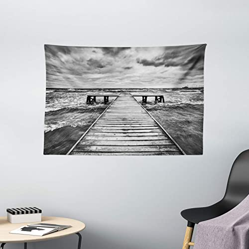 Ambesonne Landscape Tapestry, Old Wooden Deck in Storm with Waves in Sea Dramatic Sky with Dark Heavy Clouds, Wide Wall Hanging for Bedroom Living Room Dorm, 60 X 40 , White Black