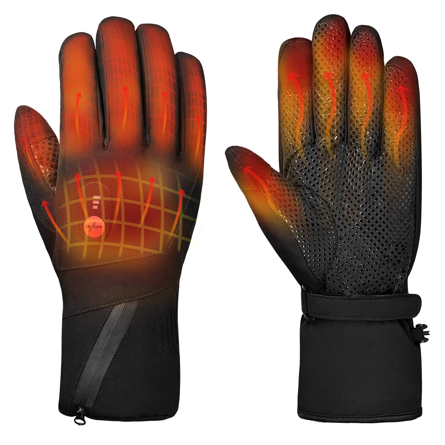Heated Gloves Electric Hand Warmer Rechargeable Powered Li-ion Battery up to 6 Hours, Snow Winter Warm Outdoor Cycling, Motorcycle, Hiking, Snowboarding,Men Women by Sun Will