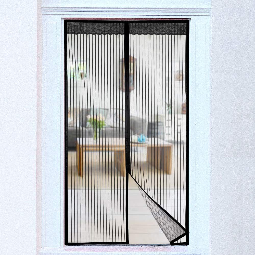 Nvetls Magn/étique Rideau de Porte Moustiquaire avec Bande Adh/ésive pour Portes Multiples Fermeture Automatique Sans Per/çage 85 * 210cm, Noir