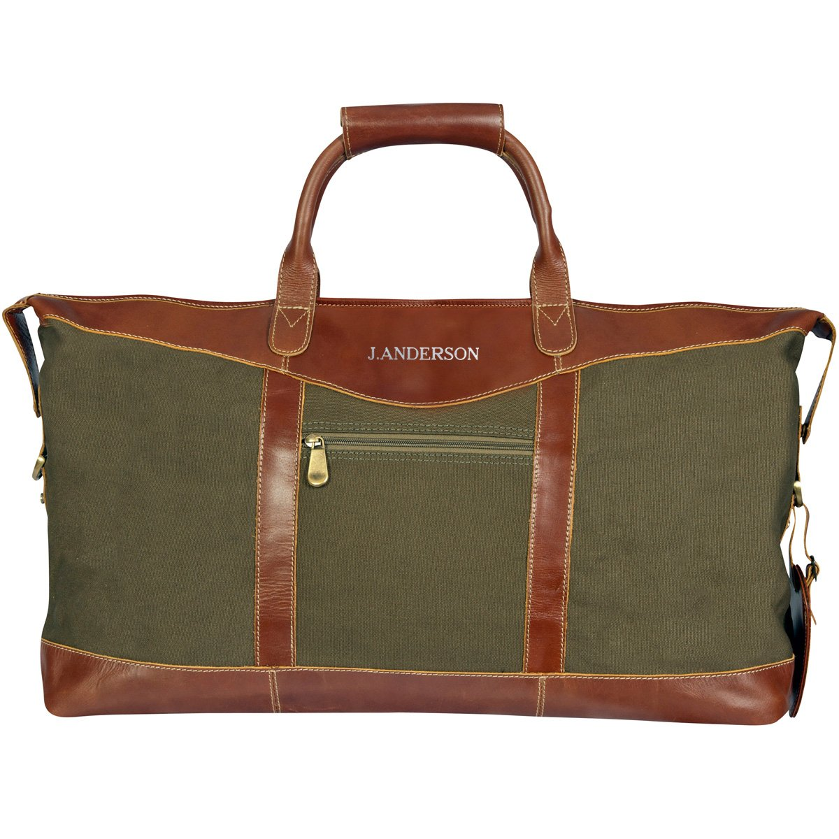 Personalized Forest Green Borello Canvas and Leather Weekender Duffel Bag - Silver