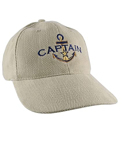 a8188f4f2df12 Nautical Golden Star Anchor Boat Captain Embroidery on an Adjustable Beige  Structured Retro Baseball Cap Options to Personalize the Hat  Amazon.ca   Handmade