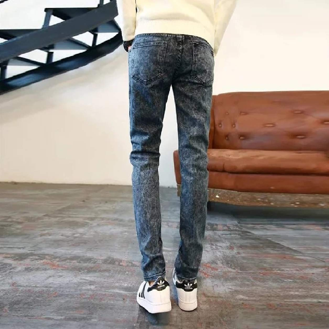 Abetteric Men Fall Winter Middle Waist Washed Denim Pants Casual Jeans