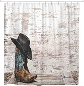 ArtSocket Shower Curtain Western Cowboy Hat and Cowgirl Boots Home Bathroom Decor Polyester Fabric Waterproof 72 x 72 Inches Set with Hooks