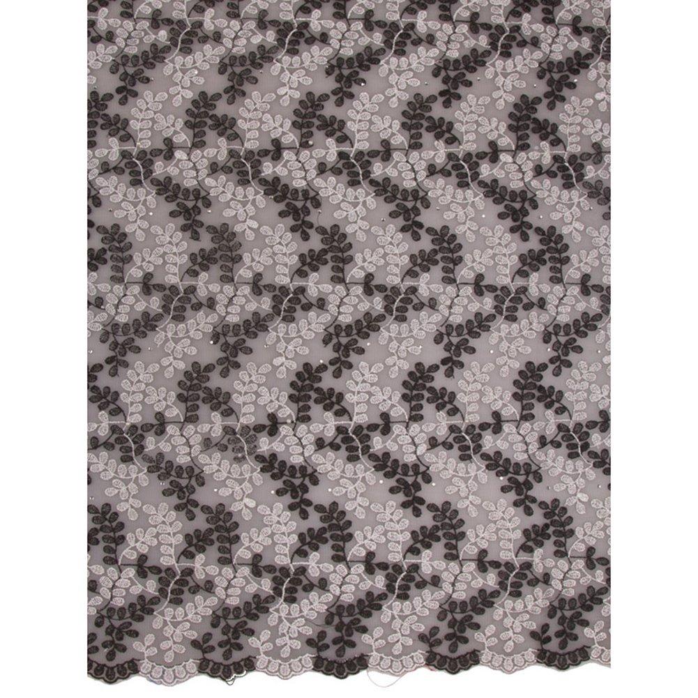 Premier Modern African Style Premium Voile Lace Net Lace Black White KS5135_02