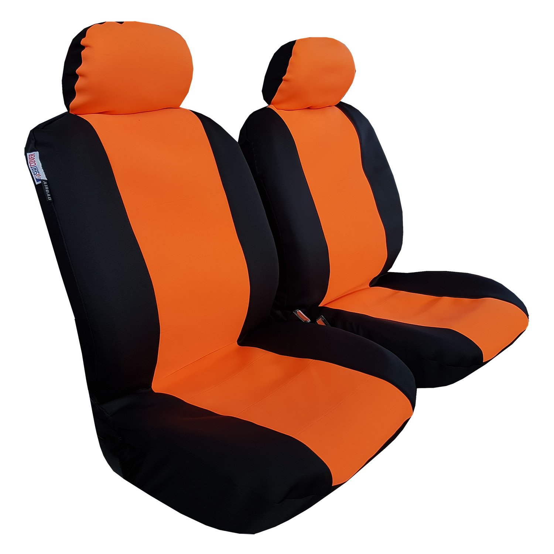 ITAILORMAKER Premium Wetsuit Waterproof Sweatproof Non-Slip Heavy Duty Neoprene Sporty Look Comfort Colorful Airbag Universal Front Car Seat Covers Protector (orange/black) by ITAILORMAKER
