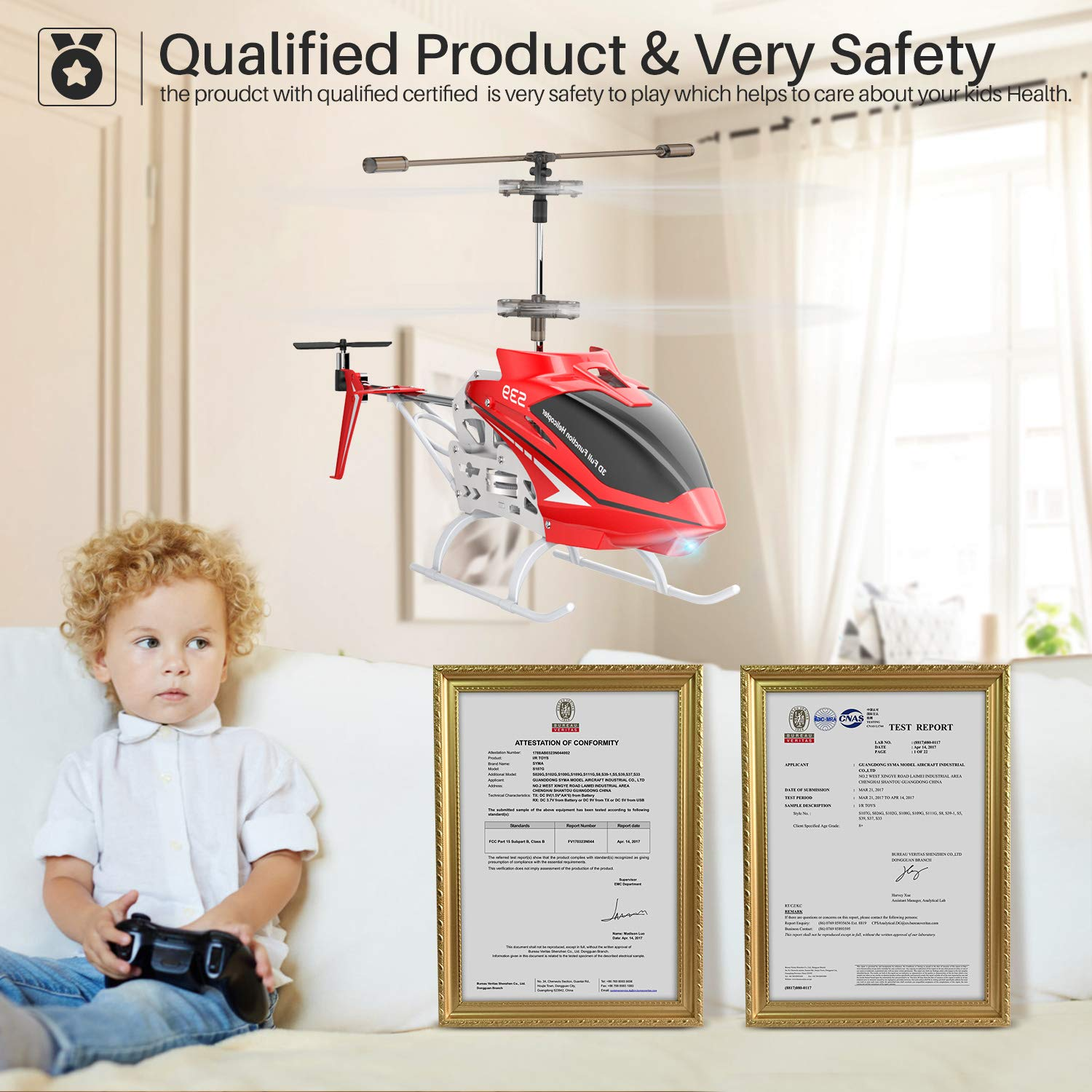 SYMA RC Helicopter, S39 Aircraft with 3.5 Channel,Bigger Size, Sturdy Alloy Material, Gyro Stabilizer and High &Low Speed, Multi-Protection Drone for Kids and Beginners to Play Indoor-Red by SYMA (Image #5)