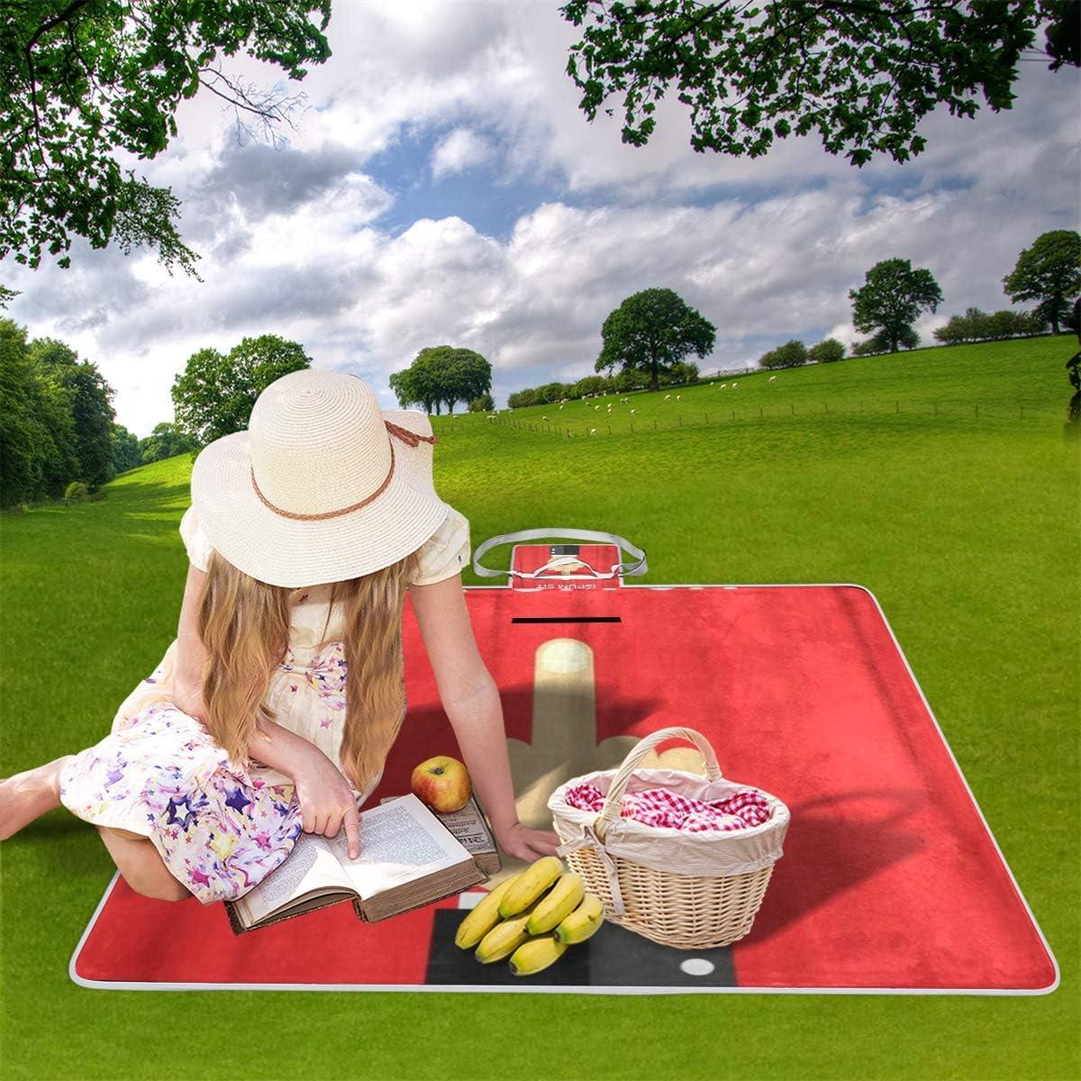 XINGAKA Couverture de Pique-Nique,Doigt du Milieu Rouge Abstrait baise Vous signez Un abus,Tapis Idéale pour Plage Jardin Parc Camping 16