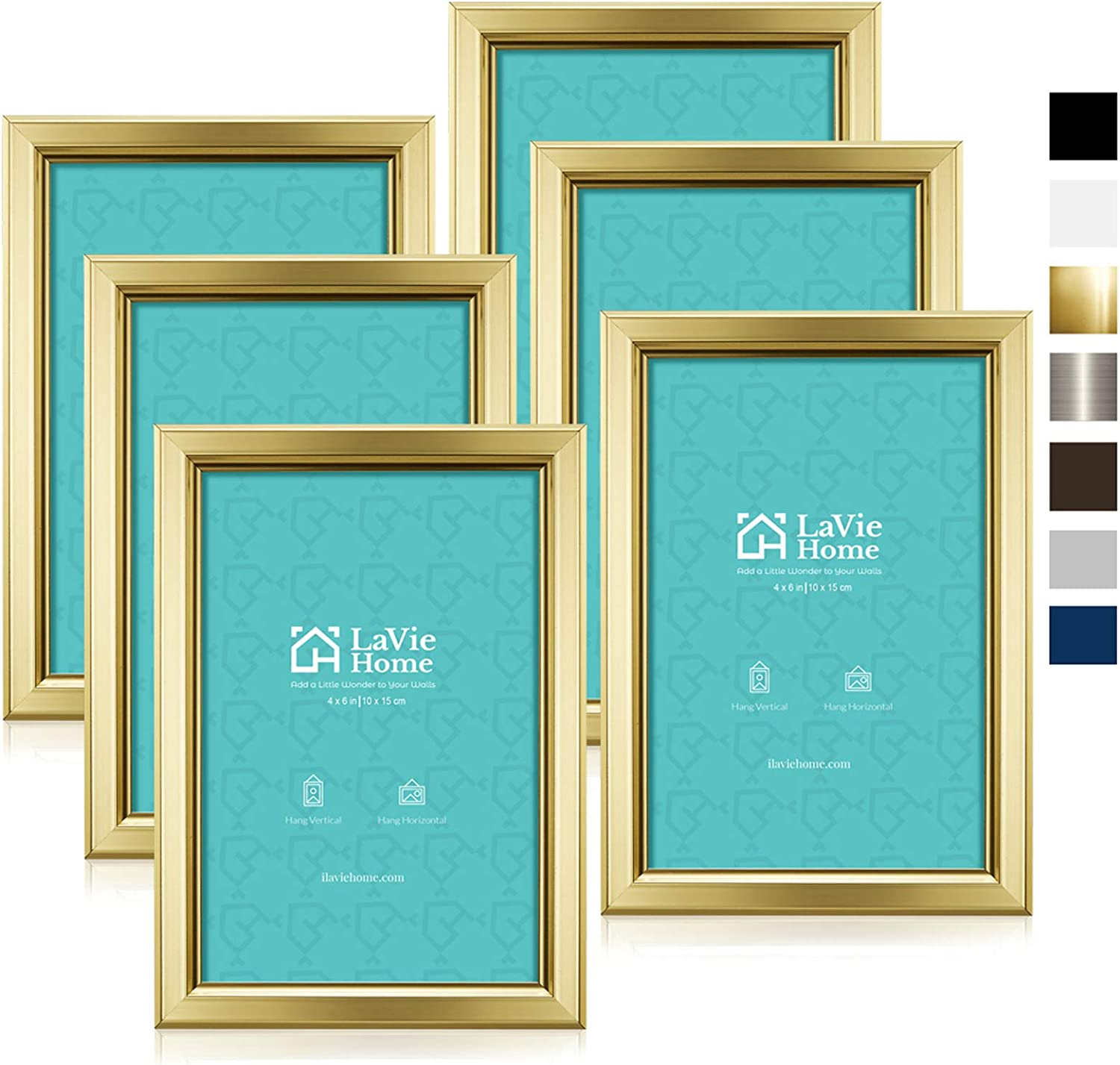 LaVie Home 4x6 Picture Frames (6 Pack, Gold) Simple Designed Photo Frame with High Definition Glass for Wall Mount & Table Top Display, Set of 6 Classic Collection