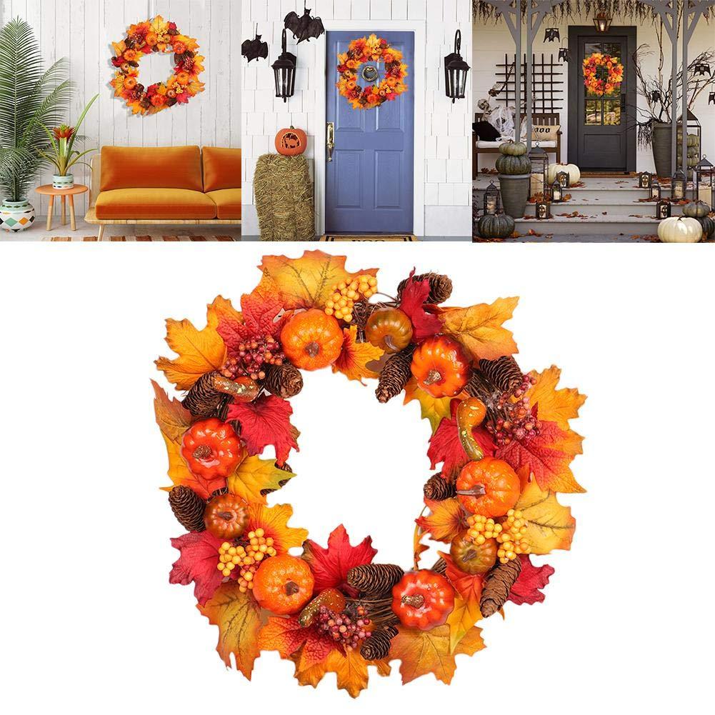 Pumpkin Wreath Autumn Fall Maple Leaves Wreath Decorative Natural Artificial Pumpkin,Pine Cone,Berry,Front Door Wreath Christmas Floral Garland Thanksgiving Decor
