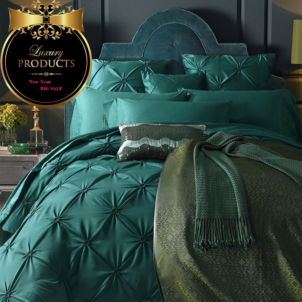AMWAN ON SALE Vintage Green Luxury Bedding Set Queen Silk Cotton Solid Duvet Cover Set European Style Pinch Pleated Bedding Cover Set Smooth Wedding Duvet Cover Set Hotel Bedding Collection Queen