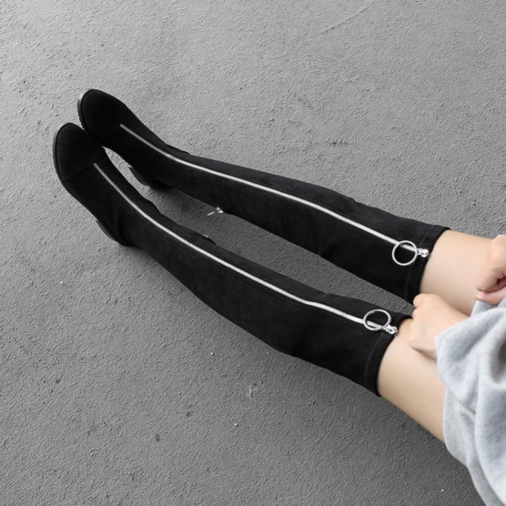 Damenstiefel Mit Niedrigem Absatz Aus Metall Dekorative Ofenröhrchen Über Über Über Den Knie-Stretch-Damenstiefeln 2039d6