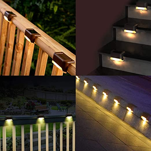 Luces de Cubierta Solares, Solar Camino De Escaleras Al Aire Libre Luz, para terrazas vallas escaleras patios caminos paisajes Blanco cálido (8 Piezas): Amazon.es: Iluminación