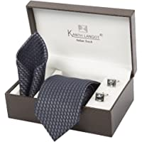 Kanthlangot Men's Jacquard Tie with Cufflinks Set (Multicolour, Free Size)