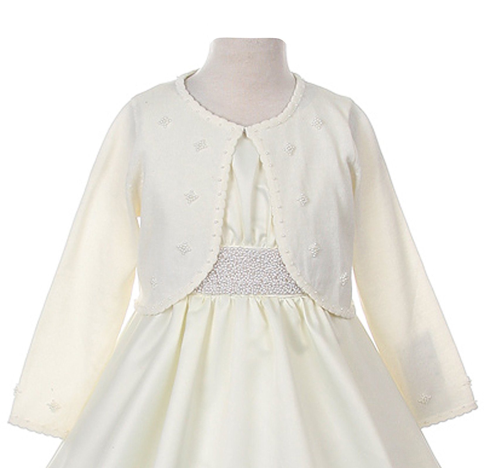 Classy 3010 Ivory Pearl Beaded Sweater for Girl - Size M (4-6)