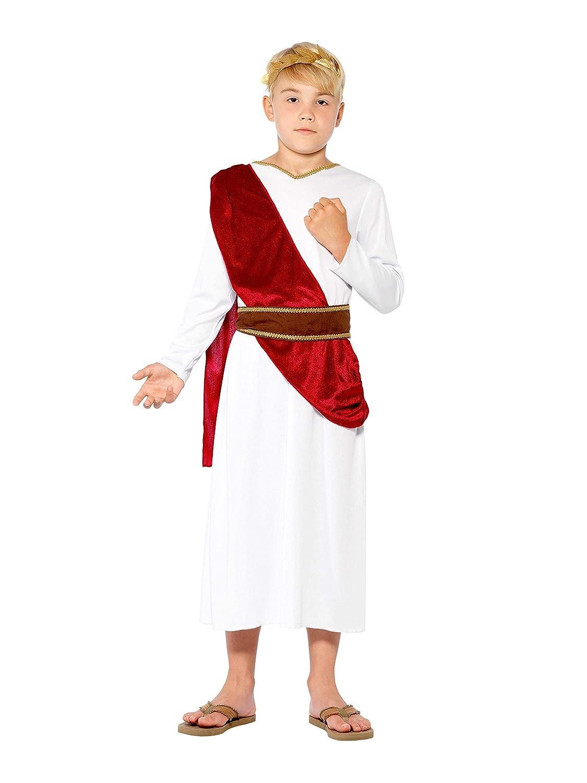 Smiffys Smiffys-44061M Traje de Romano, Blanca, con Hábito, Cinturón y Diadema, Color, M - Edad 7-9 años 44061M