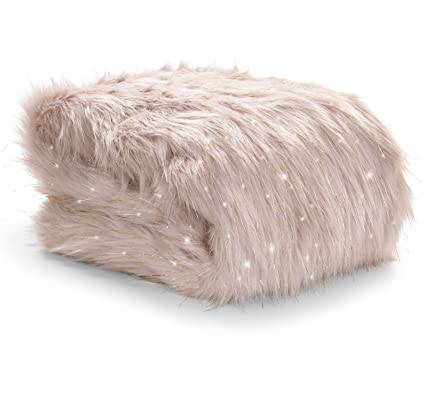 Catherine Lansfield Metallic Faux Fur Throw, Blush, 130 x 170 Cm