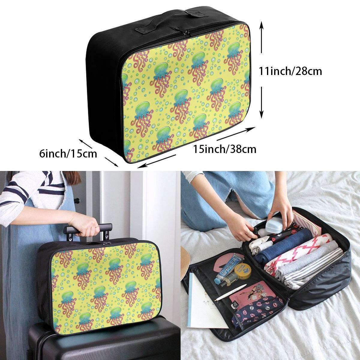 Travel Luggage Duffle Bag Lightweight Portable Handbag Cute Jellyfish Yellow Large Capacity Waterproof Foldable Storage Tote