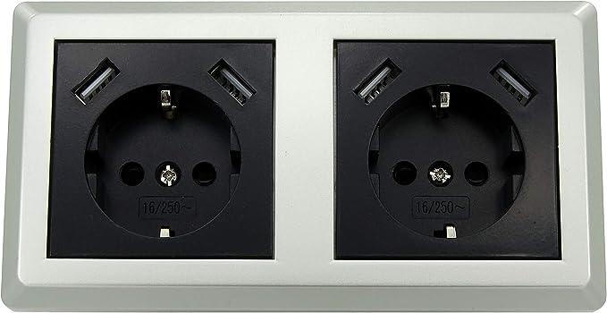 Enchufe doble Schuko con 2 puertos USB cada uno (máx. 2800 mA) en ...