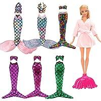 4 sets bikini zeemeermin kleding jurken regenboog zeemeermin + 1 jas + 1 vissenstaart voor Barbie poppen