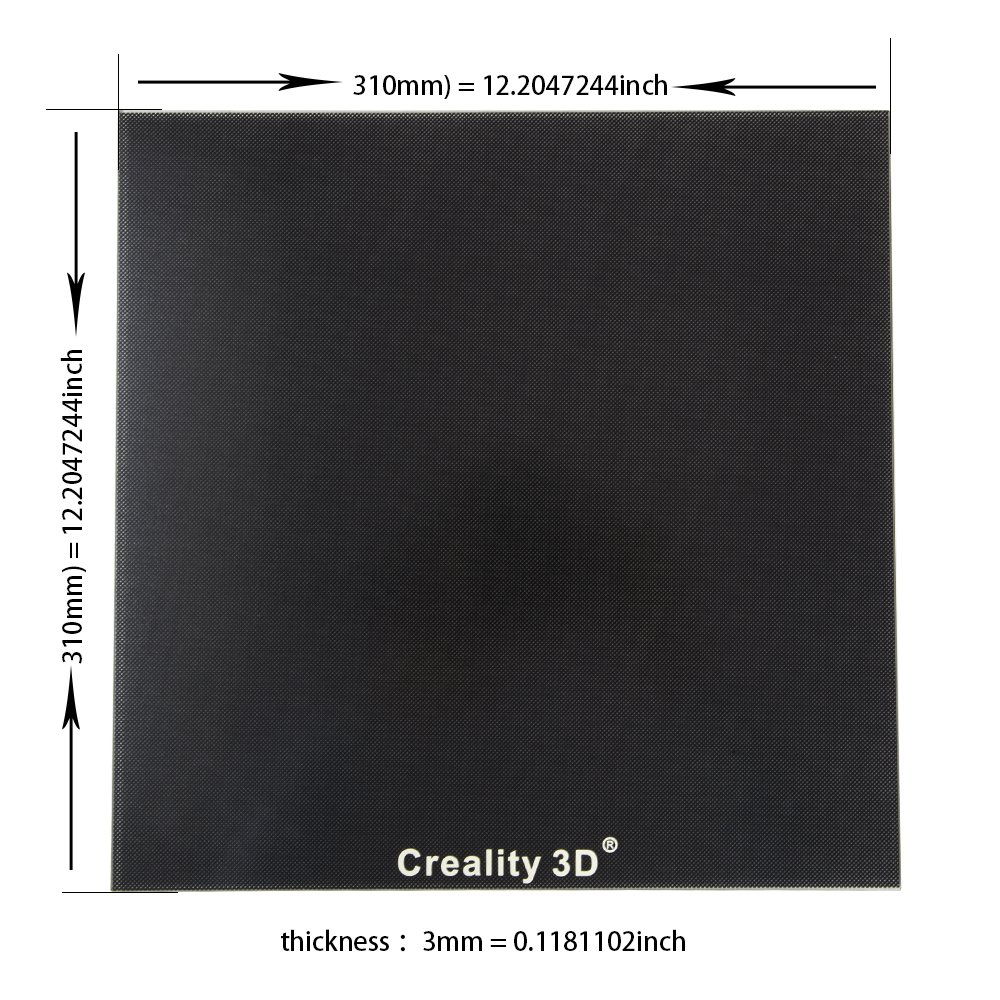 Comgrow Heat Bed Glass Plate 310 x 310mm for Creality 3D Printer ...