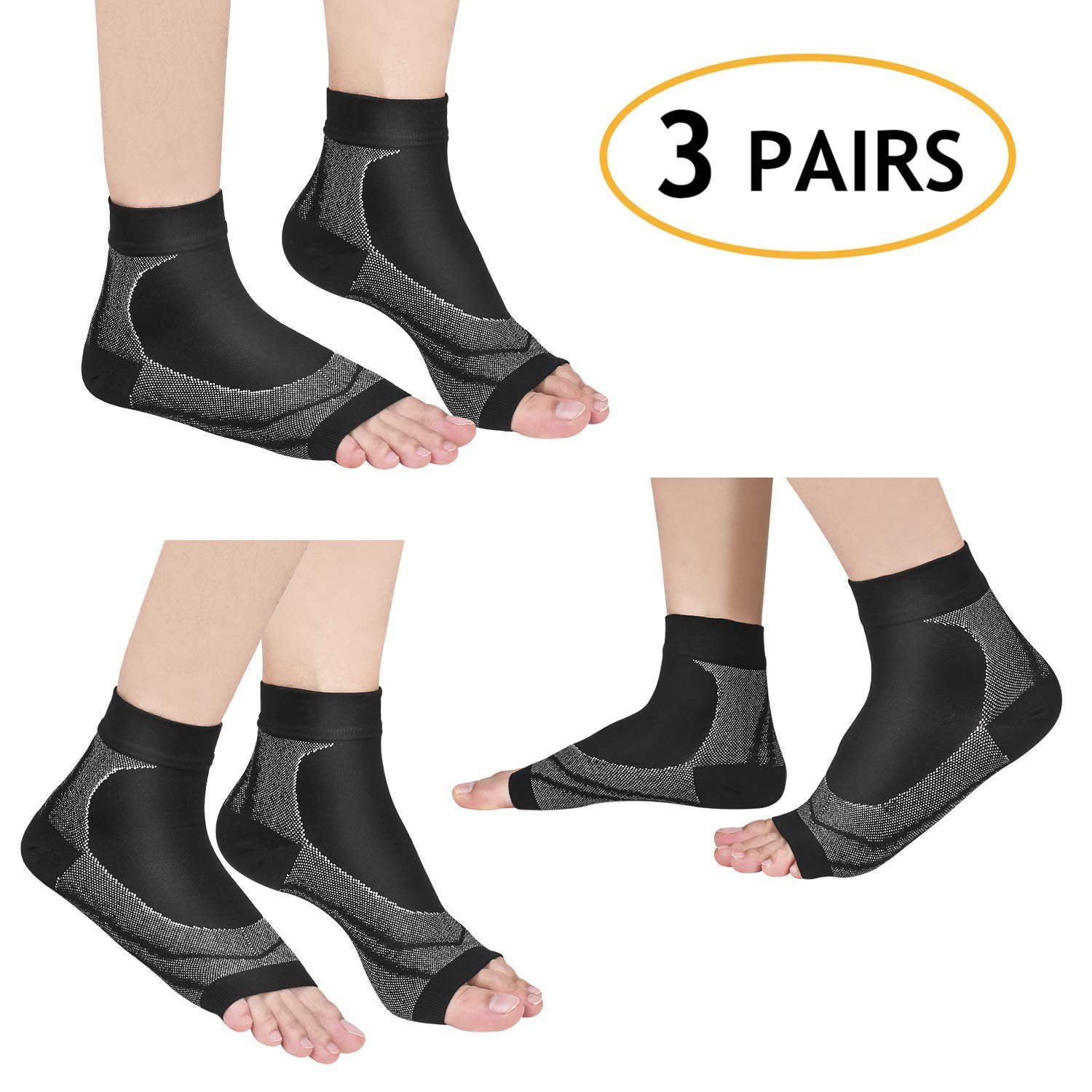 Vitty Plantar Fasciitis Socks for Men & Women(3Pairs of Compression Socks Per Pack),GreatFoot CareCompression Foot Sleeves for Plantar Fasciitis Pain Relief, Heel Pain, Arch Support, Ankle Support