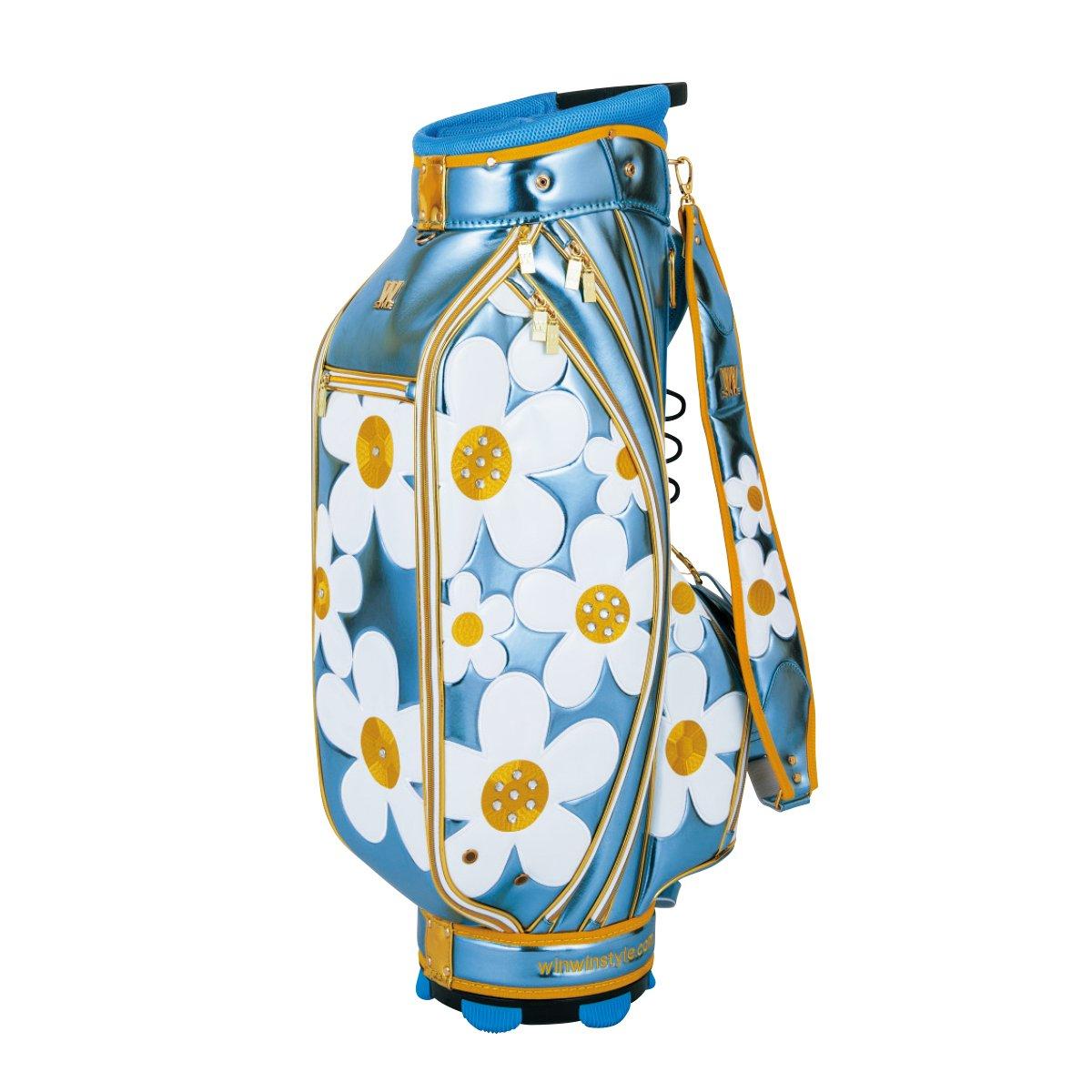 WINWIN STYLE(ウィンウィンスタイル) キャディーバッグ W STYLE DAISY CART Bag Gold Ver. 9.0型 47インチ対応 レディース CB-489 スカイブルー デザイン:エナメルアップリケ刺繍×ラインストーン B07B4KHS8Q