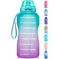 $21 » Fidus Large 1 Gallon/128oz Motivational Water Bottle with Time Marker & Straw,Leakproof…