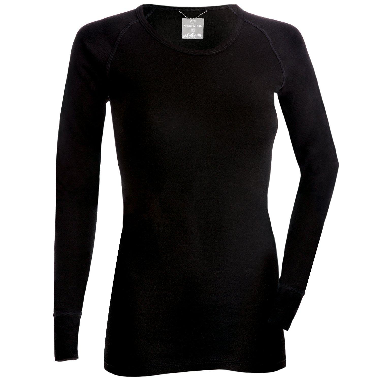 MERIWOOL Womens Merino Wool Lightweight Form Fit Baselayer Pullover Top - Medium
