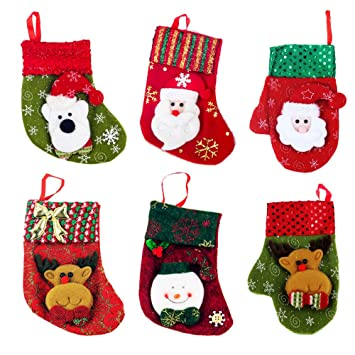 zhihu set of 6 various styles stockings for santa christmas santas stockings gifts baskets candy holiday - Candy Christmas Decorations