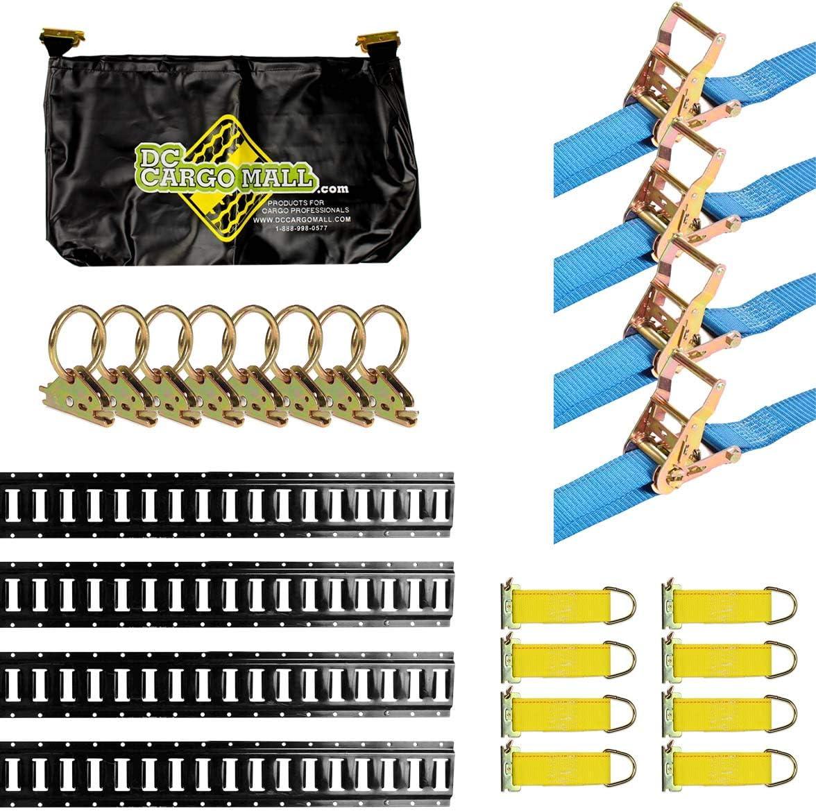 E-Track Basket E-Track Tie-Down Accessories 25 Pieces: 5 ft Black Rails DC Cargo Mall E Track Tie-Down Kit