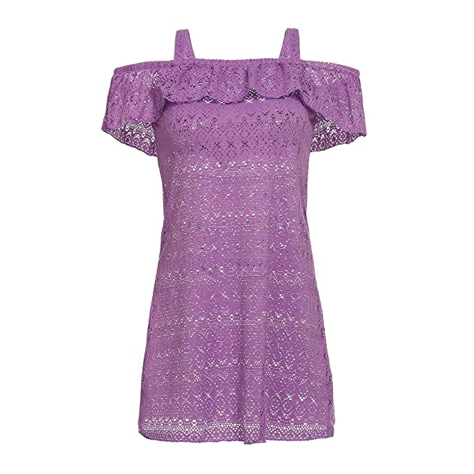 faf9801b6a DAYU Fashion Girls Swim Dress Beach Cover Up Crochet Net Swimsuits, Purple,  7