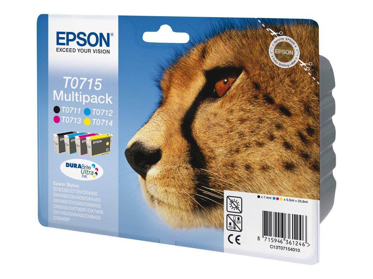 Epson Multipack T0715 - Pack de 4 - Negro, Amarillo, Cian, Magenta ...