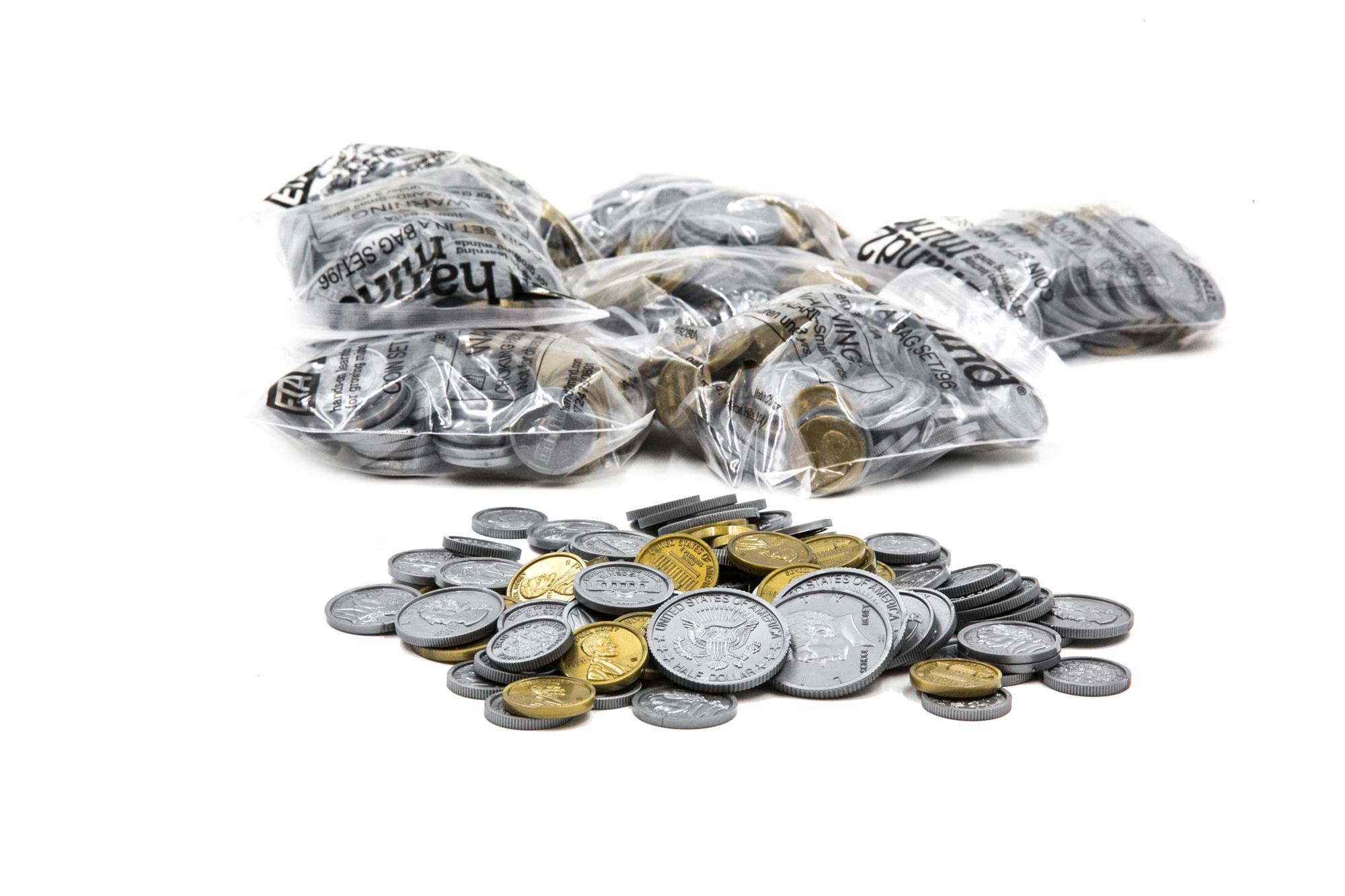 ETA Hand2Mind Assorted Plastic Realistic Coins, Set of 500 by hand2mind