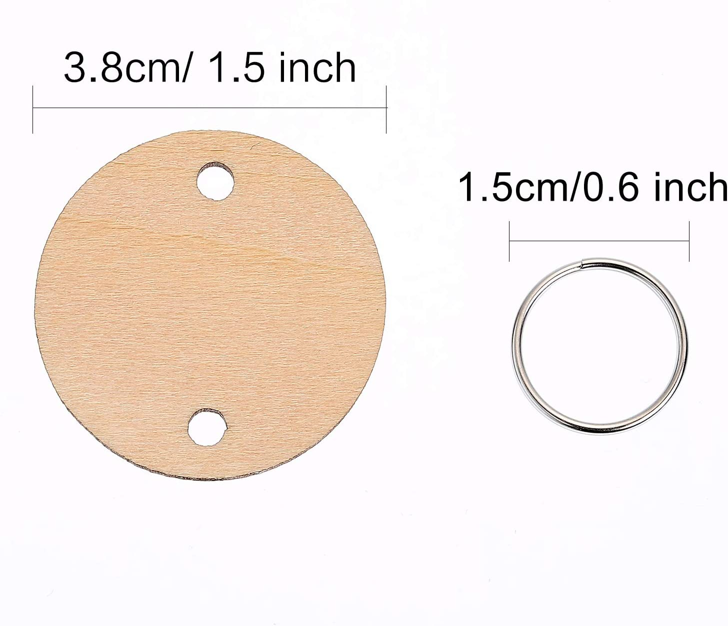 Bememo 100 Pieces Round Wooden Discs with Holes Birthday Board Tags and 100 Pieces 15 mm Rings for Arts and Crafts 3.8CM
