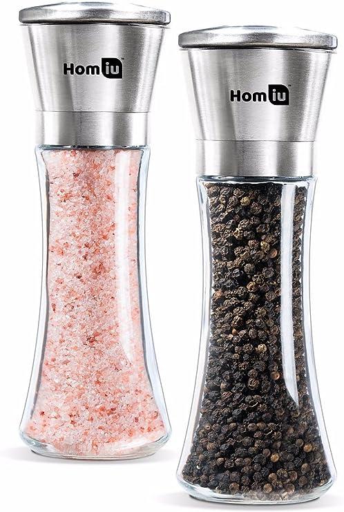 Homiu Salt /& Pepper Grinder Set of 2 Salt /& Pepper Mill Stainless Steel Pepper Grinder Adjustable Handheld Salt Mill Glass Bottle Pepper Mill Large