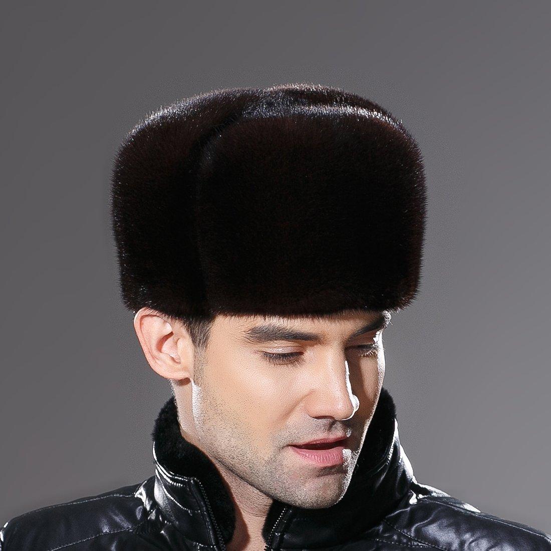 URSFUR Russian Fur Ushanka Hat Mens Winter Real Min Fur Trapper Cap Brown L by URSFUR (Image #4)