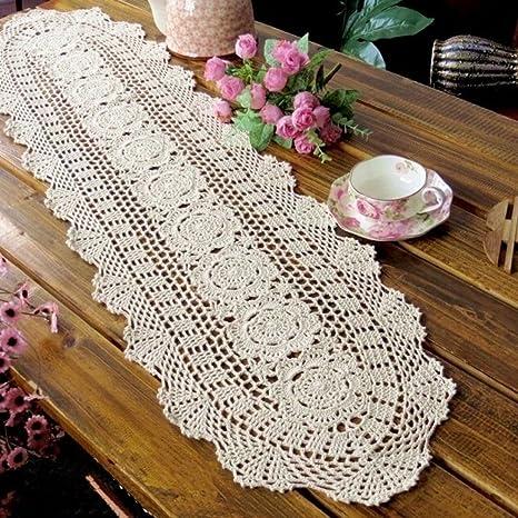 Kamay s® Hecho a mano Crochet redonda encaje de algodón Camino de mesa 30