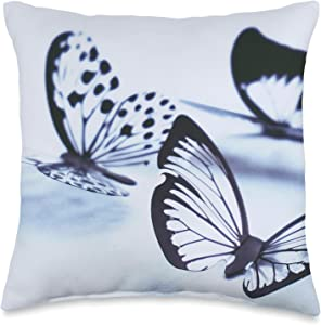 Oasis Central Black Butterfly Design Throw Pillow, 16x16, Multicolor
