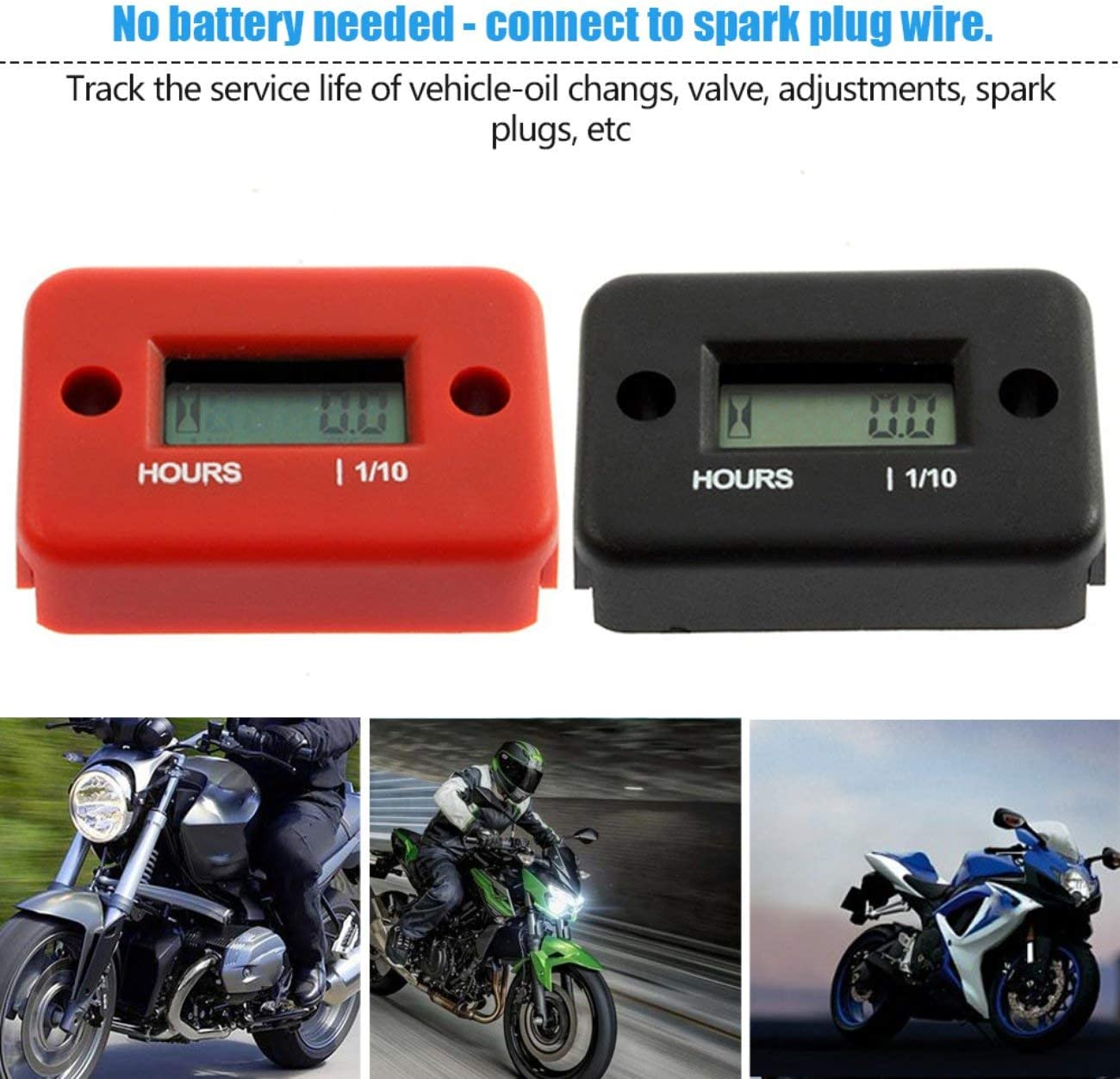 Inductive Digital Hour Meter Waterproof LCD Display for Bike Motorcycle ATV Snowmobile Marine Boat Ski Dirt Gas Engine