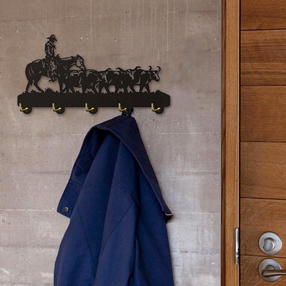 Old West Cattle Drive Wall Hook Clothes Robe Hook Key Holder America Cowboy Rack Modern Wall Art DecorHook