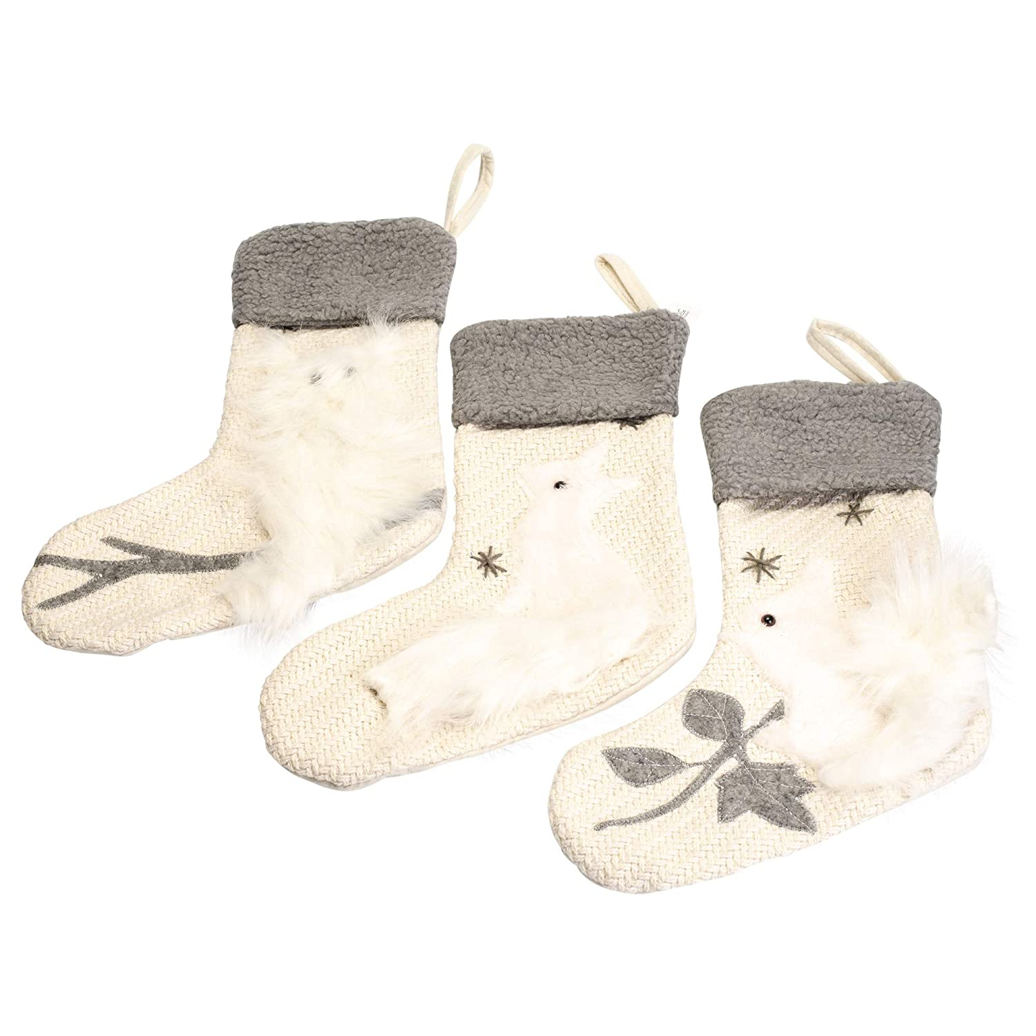 Woodland Faux Fur Cream and Grey 20 x 12 Polyester Christmas Stockings Set of 3 Inc Transpac Imports